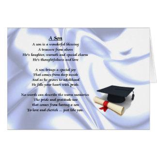 Poema del hijo de la graduación tarjeta de felicitación