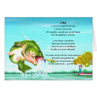Poema del hijo de la pesca tarjeta de felicitación
