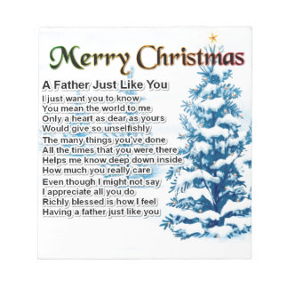 Poema del padre - diseño del navidad blocs de notas