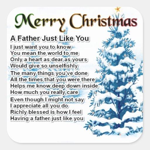 Poema del padre - diseño del navidad calcomanías cuadradass