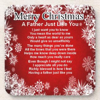 Poema del padre - diseño del navidad posavasos de bebidas