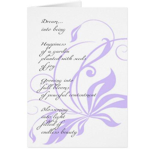 Poema elegante del sueño de la lila felicitaciones