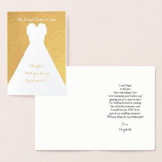 Poema futuro de la dama de honor de la cuñada del tarjeta con relieve metalizado