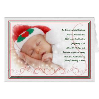 Poema lindo del bebé del 1r navidad del ahijado tarjeta