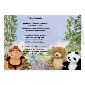 Poema mimoso de la ahijada de los juguetes tarjeta de felicitación
