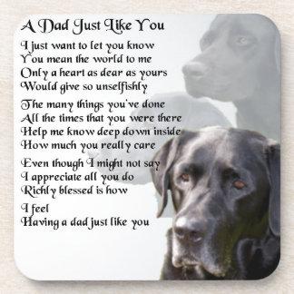 Poema negro del papá de Labrador Posavasos