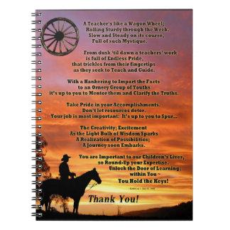 Poema occidental del aprecio del profesor cuaderno