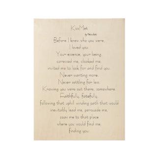 Poema original de KissMet para los amantes en el Póster De Madera