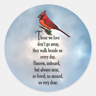 "Poema ""tan amado"" del cardenal pegatina redonda"