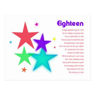 Poema único para 18 años que alcanzan para las est tarjeta postal