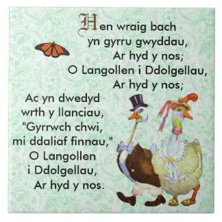 Poesía infantil/Hwiangerddi Galés Azulejo Cuadrado Grande