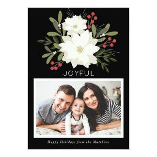 Poinsettia alegre - tarjeta de la foto del navidad