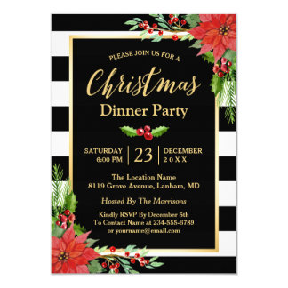 Poinsettia clásico del fiesta de cena de navidad invitación 12,7 x 17,8 cm