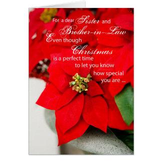 Poinsettia del navidad de la hermana y del cuñado tarjeta