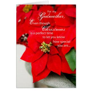 Poinsettia del navidad de la madrina tarjeta de felicitación