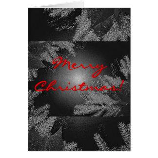 Poinsettia del navidad negro y gris en inglés tarjeta de felicitación