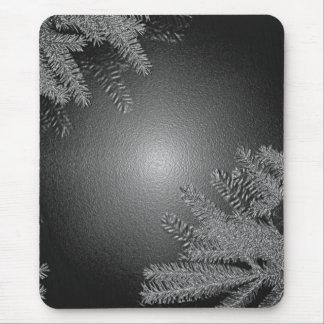 Poinsettia del navidad negro y gris I Alfombrilla De Ratón