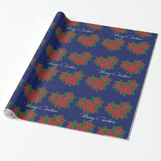 Poinsettia del navidad papel de regalo