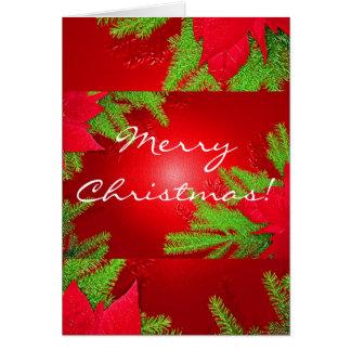 Poinsettia del navidad rojo y verde en inglés tarjeta de felicitación