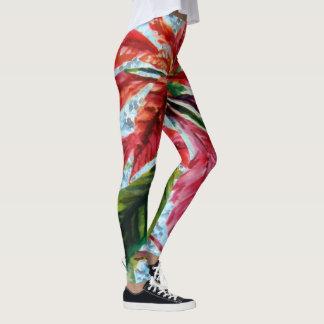 Poinsettia en modelo azul leggings