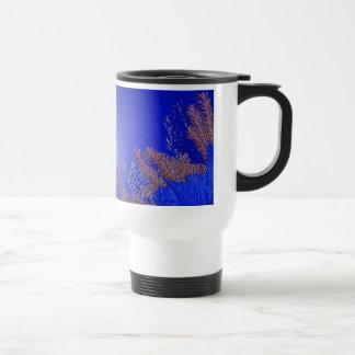 Poinsettia V azul del navidad Tazas De Café