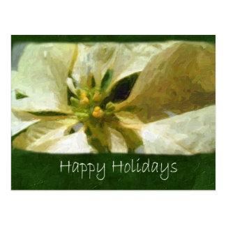 Poinsettias amarillos 1 Painterly - buenas fiestas Postal