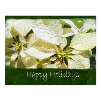 Poinsettias amarillos 2 - buenas fiestas postal