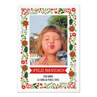 Poinsettias modernos rojos, foto verde de NAVIDAD Invitación 12,7 X 17,8 Cm