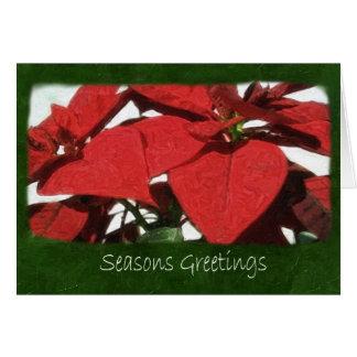 Poinsettias rojos 2 - saludos de las estaciones tarjeta de felicitación
