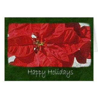 Poinsettias rojos 3 - buenas fiestas tarjeta de felicitación