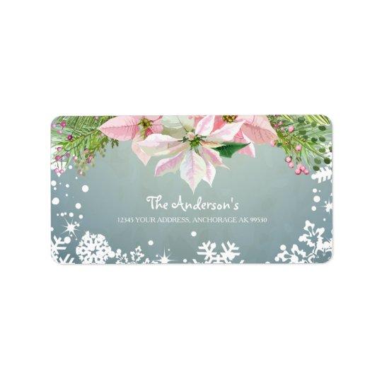 Poinsettias rosados encantadores, etiqueta del día