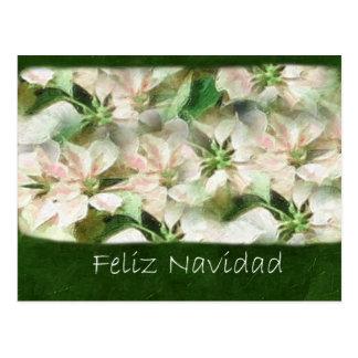 Poinsettias rosados y blancos 1 Painterly - Feliz Postal
