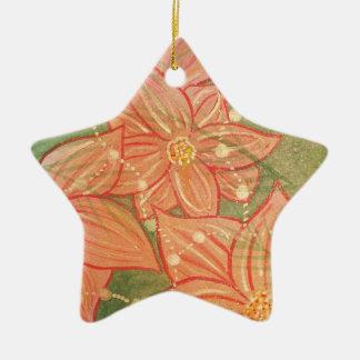 Poinsettias y gotas de la acuarela en el árbol de adorno de cerámica