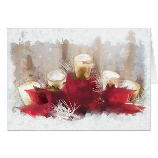Poinsettias y velas de tarjeta de Navidad