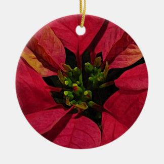 Pointsettia rojo adorno redondo de cerámica