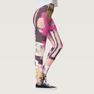 Polainas abstractas de la pintura del rosa y del leggings