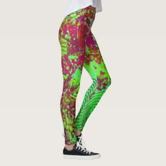 Polainas abstractas magentas y verdes leggings