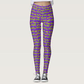 Polainas amarillas y verdes púrpuras de los leggings