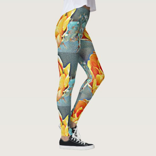 Polainas anaranjadas de encargo del higo chumbo de leggings