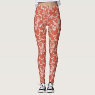 Polainas anaranjadas y blancas del triángulo leggings
