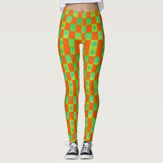 Polainas anaranjadas y verdes del vintage del leggings