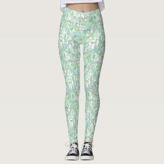 Polainas azules claras y verdes de los salpicones leggings