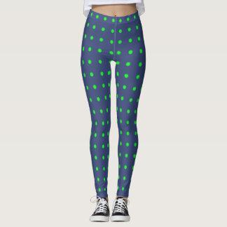 Polainas azules con los lunares verdes leggings