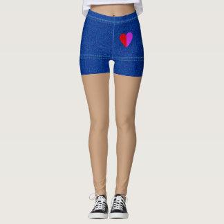 Polainas azules del dril de algodón leggings