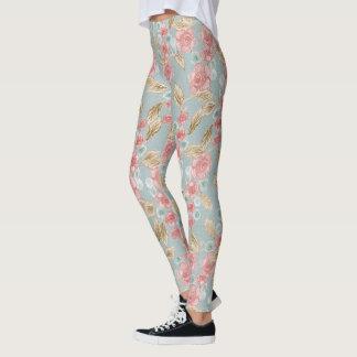 Polainas azules del estampado de flores del leggings