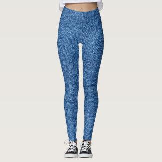 Polainas azules intrépidas del dril de algodón leggings