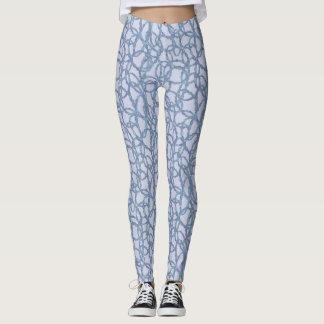 Polainas azules y blancas de la pintada del leggings