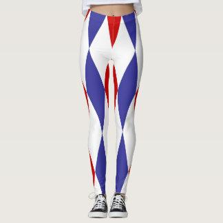 Polainas azules y rojas del diseño de los leggings