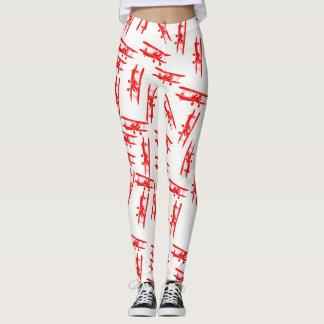 Polainas blancas con la decoración del avión del leggings