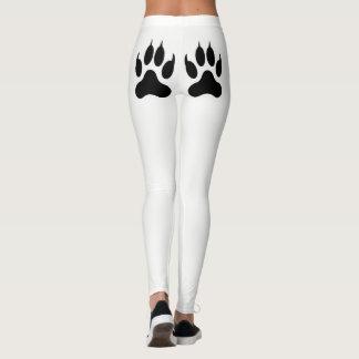 Polainas blancas de la impresión de la pata leggings